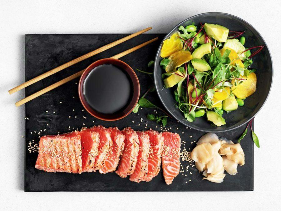 Sotad regnbåge Sashimi style